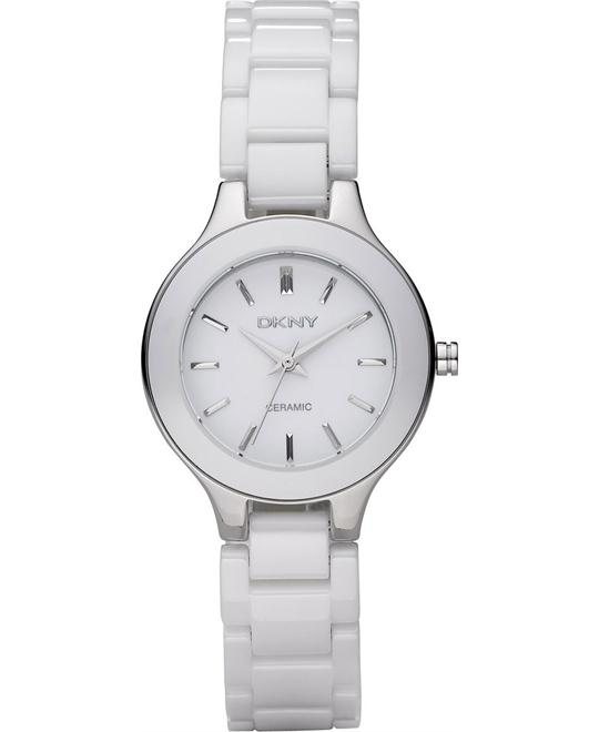 DKNY White Dial White Ceramic Watch 31mm