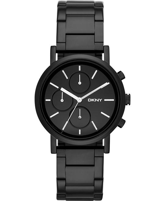 DKNY Women's Chronograph Soho Black Ion-Plated Watch 38mm