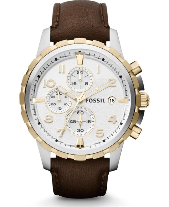 Fossil 'Dean' Chronograph Leather Strap Watch, 45mm Brown