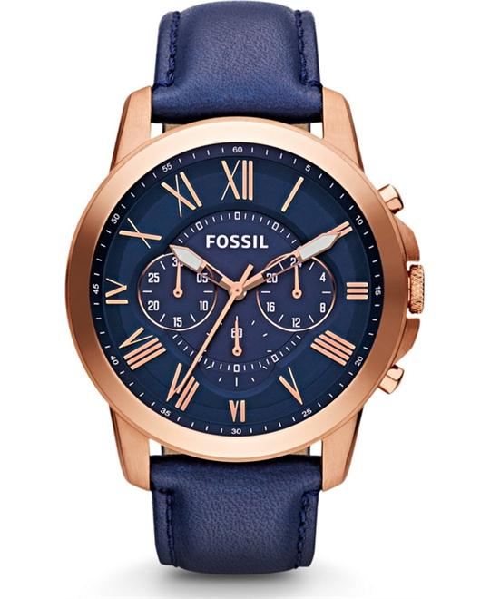 Fossil 'Grant' Round Chronograph Watch, 44mm Navy/ Rose Gold