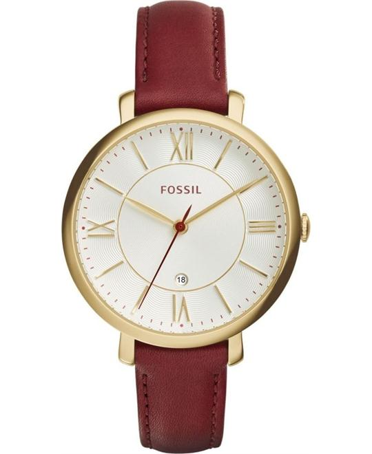 FOSSIL Jacqueline Maroon Leather Ladies Watch 36mm