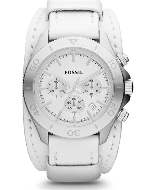 Fossil Leather Cuff Watch, 45mm