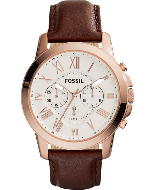 Fossil Men's Chronograph Grant Brown Watch 44mm