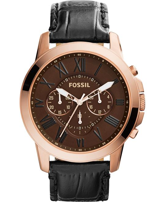 Fossil Men's Chronograph Grant Croc-Embossed Watch 44mm