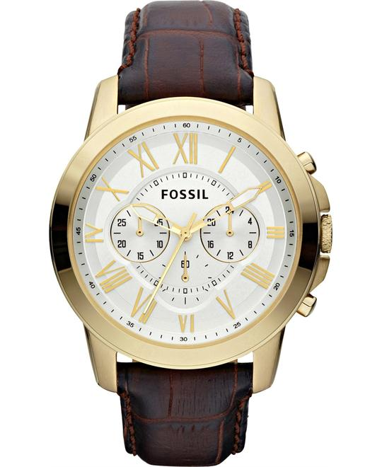 Fossil Men's Chronograph Grant Croc Embossed Watch 44mm