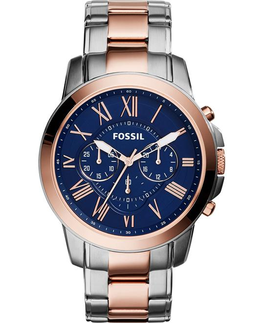Fossil Men's Chronograph Grant Two-Tone Watch 44mm