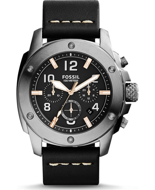 Fossil Men's Chronograph Black Leather Strap Watch 45mm