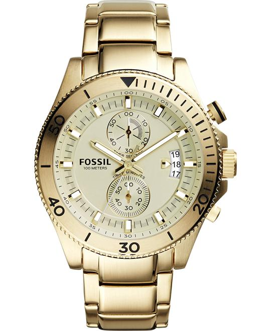 Fossil Men's Chronograph Wakefield Gold-Tone Watch 45mm