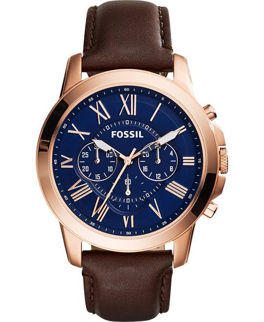 Fossil Men's FS5068 Grant Stainless Steel Watch 44mm