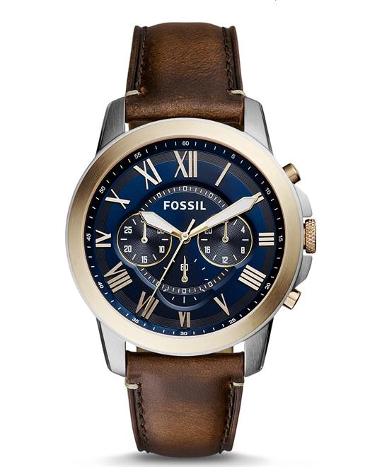 Fossil Men's Grant Chronograph Dark Brown Leather Watch 44mm