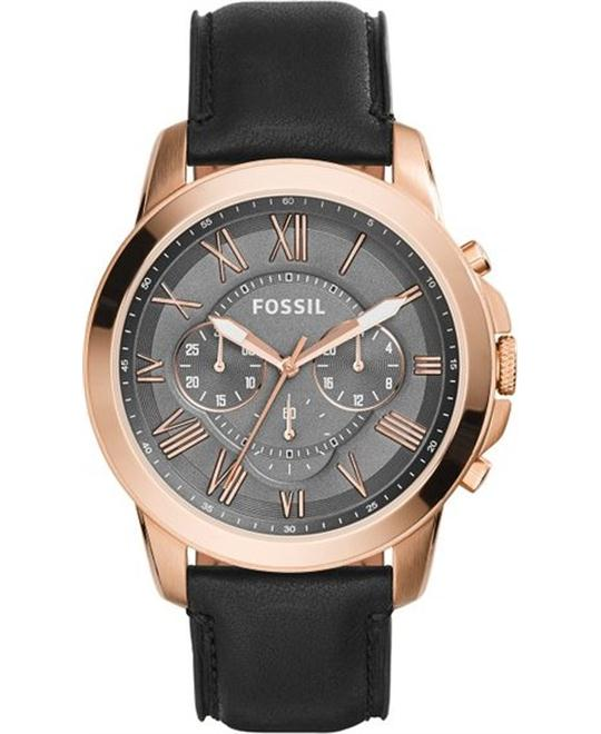Fossil Men's Grant Chronograph Leather Black Watch 44mm