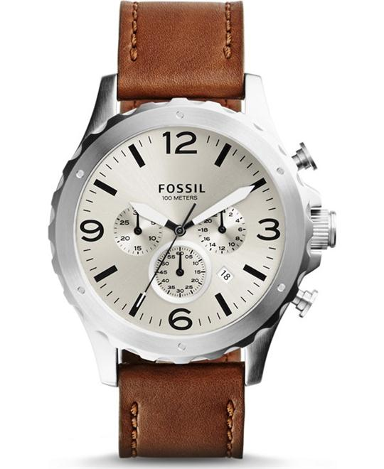 Fossil Men's Nate Chronograph Leather Watch - 46mm