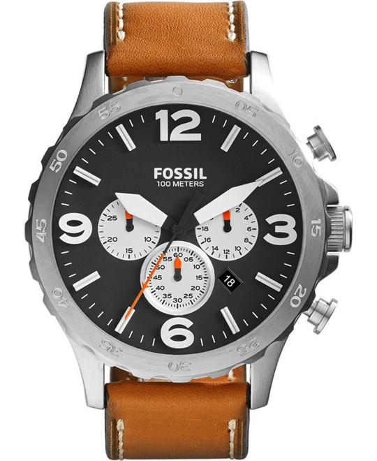 Fossil Men's Nate Chronograph Leather Watch 50mm