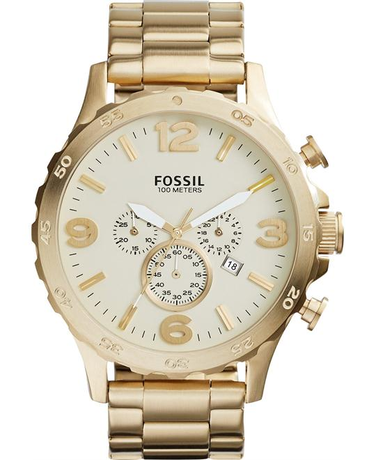 Fossil Men's Nate Chronograph Stainless Steel Watch 50mm