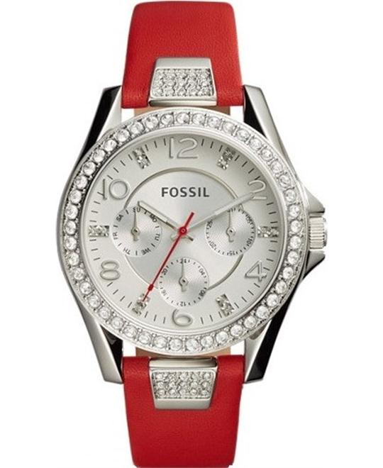 Fossil Riley Multifunction Leather Watch 38mm