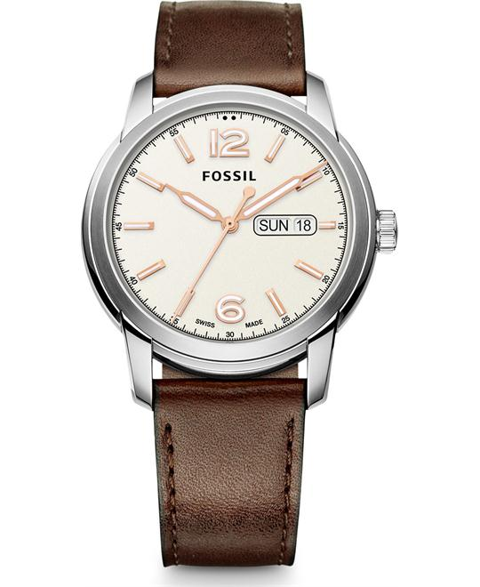 FOSSIL SWISS FS-5 SERIES BROWN LEATHER WATCH 43MM