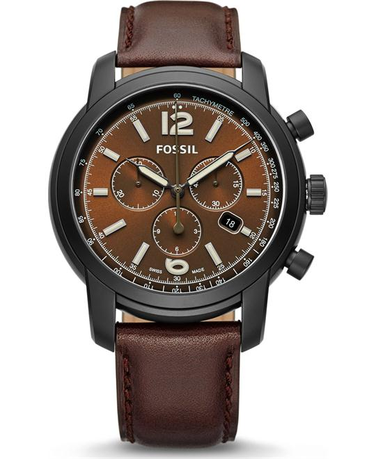 FOSSIL SWISS FS-5 SERIES CHRONOGRAPH BROWN WATCH 45MM