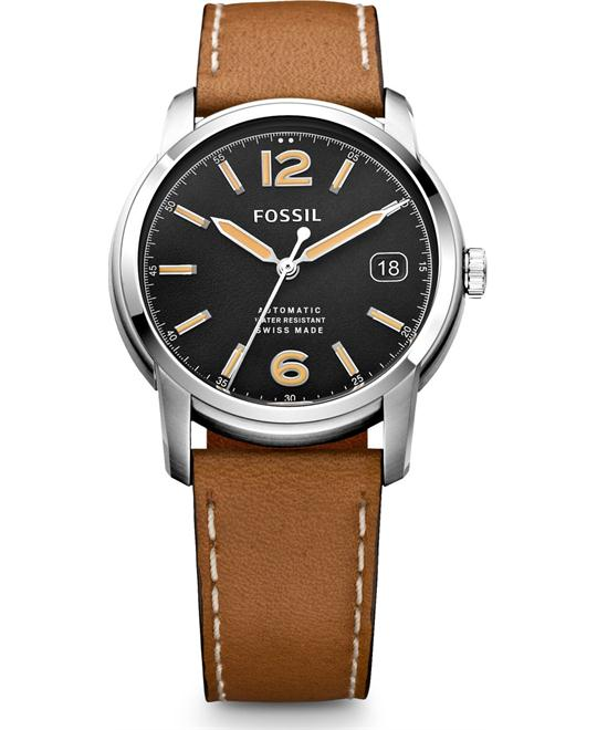FOSSIL SWISS MADE AUTOMATIC LEATHER WATCH 38MM