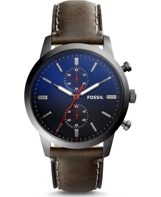 đồng hồ Fossil Townsman Gray Leather Watch 44mm