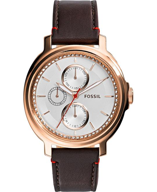 Fossil Unisex Chelsey Leather Brown Watch 39mm