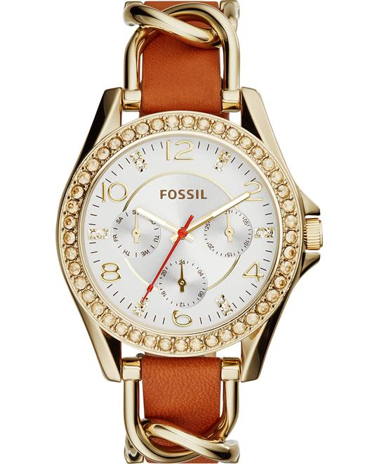 Fossil Women's Riley Gold-Tone Chain Overlay Watch 38mm