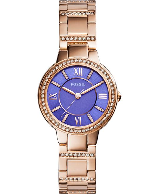 Fossil Women's Virginia Crystal Accent Rose Gold Watch 30mm