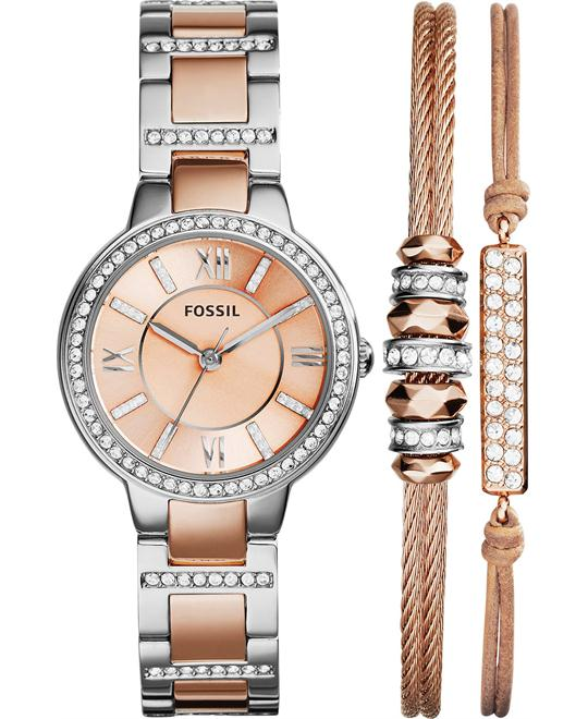 Fossil Women's Virginia Crystal Accent Two-Tone Watch Set 30mm