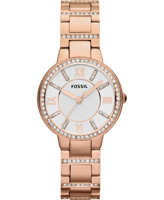 Fossil Women's Virginia Rose Gold-Tone Watch 30mm