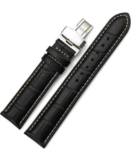 Genuine Calf Leather Watch Band Buckle Black 19mm