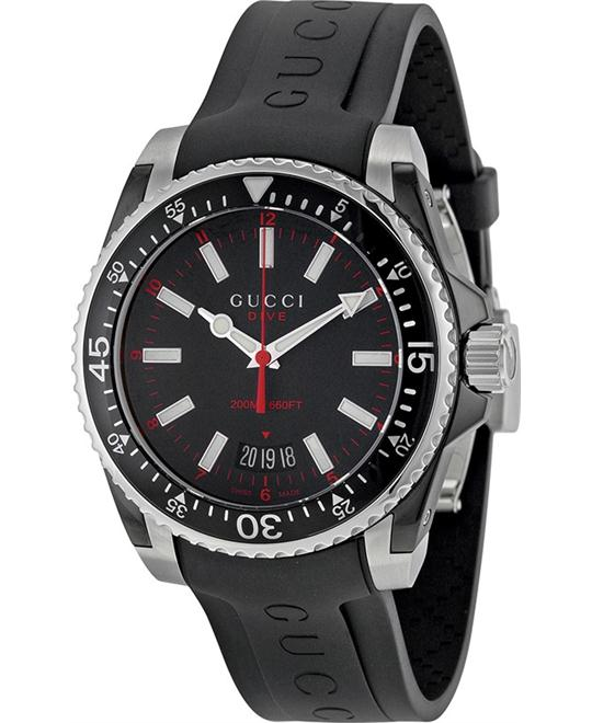 GUCCI Dive Black Dial Black Rubber Men's Watch 40MM