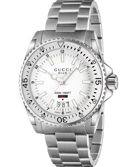 GUCCI Dive White Dial Stainless Steel Men's Watch