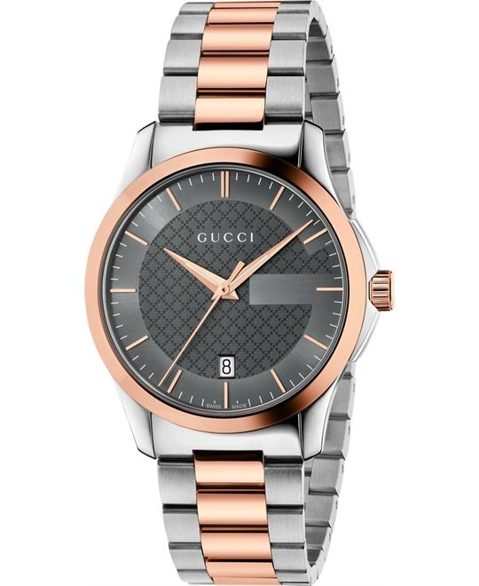 GUCCI G-Timeless Grey Two-tone Unisex Watch 38mm
