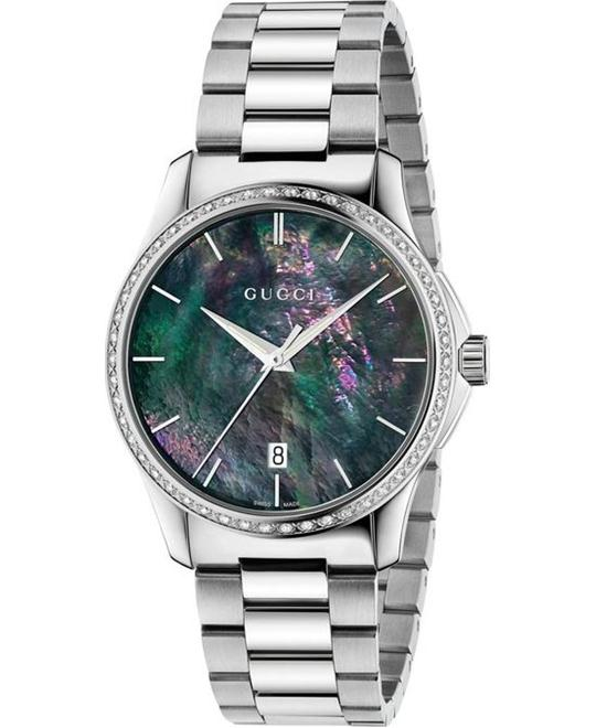 GUCCI G-Timeless YA126458 Black Mother of Pearl Diamond Unisex Watch 38mm