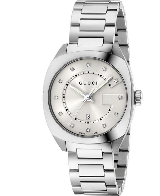 GUCCI GG2570 White Dial Diamond Ladies Watch 37mm