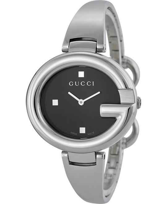 GUCCI Guccissima Black Dial Stainless Steel Ladies Watch 36mm