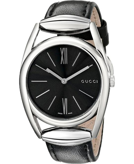 Gucci Horsebit Collection  Black Leather Ladies Watch 34mm