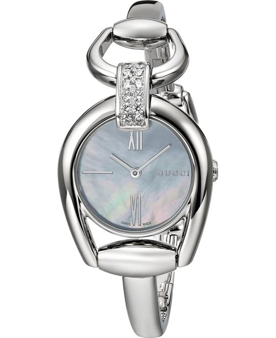 Gucci Horsebit Collection YA139504 Diamond Watch 28mm