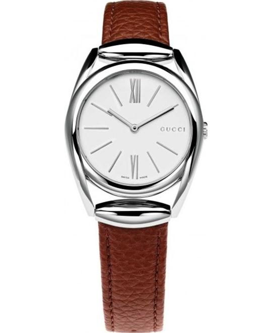 Gucci Horsebit Red Leather Strap Watch 34mm
