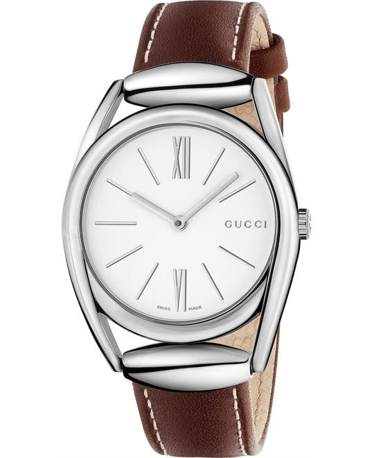 GUCCI Horsebit Silver Leather Ladies Watch 34mm