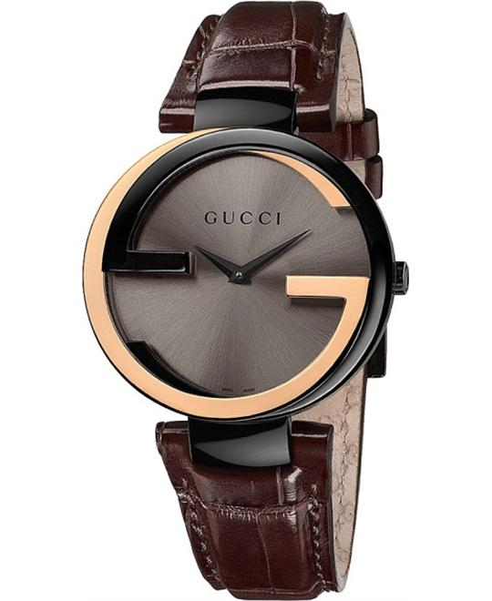 Gucci Interlocking-G Black Dial Brown Leather Unisex Watch 37mm