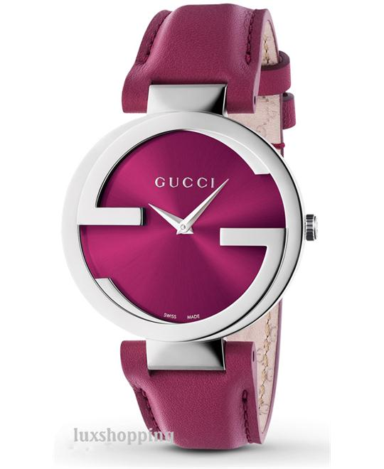 Gucci Interlocking G Pink Leather Ladies Watch 37mm