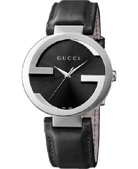 Gucci Interlocking  Men's Swiss Leather Watch 42mm