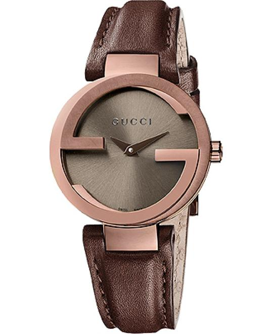 Gucci Interlocking  Women's Leather Strap Watch 29mm