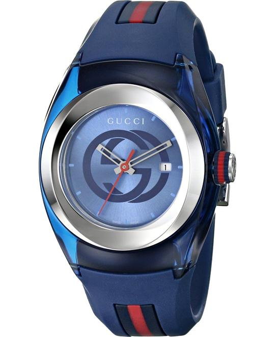 Gucci Sync Blue and Red Rubber Strap Watch 36mm