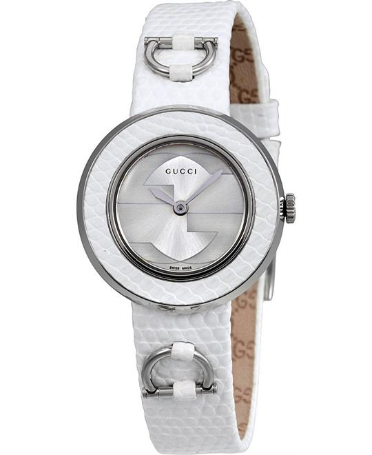 GUCCI U-Play Silver Dial Leather Ladies Watch 27mm