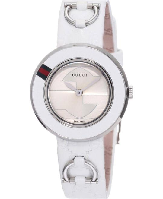 Gucci U Play Silver Dial White Leather Strap Ladies Watch 27mm