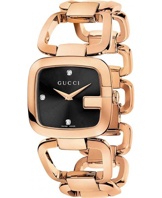 GUCCI G Black Diamond Rose Gold PVD Watch 24 x 22.5mm