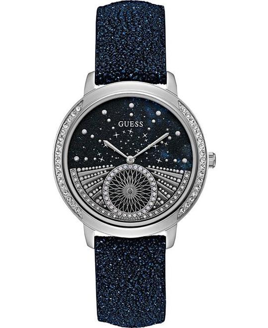 GUESS Blue Glitter Leather Unisex Watch 40mm