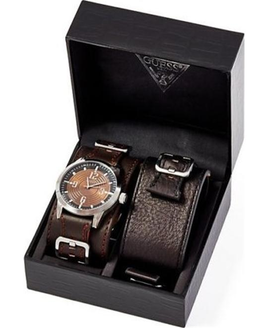 Guess Brown Face With Set Cuffs Men Watch 44mm