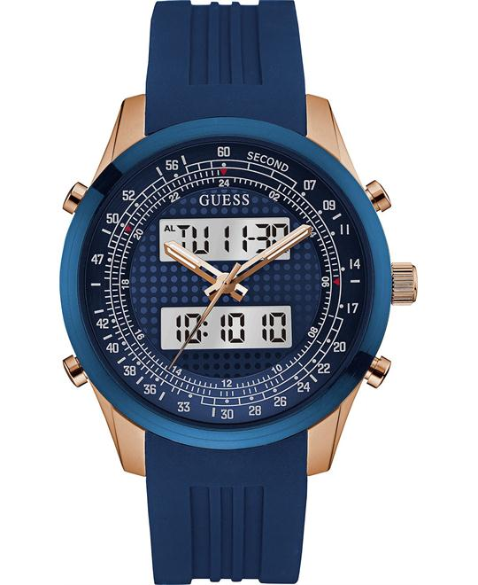 GUESS Chronograph Blue Silicone Men's Watch 45mm